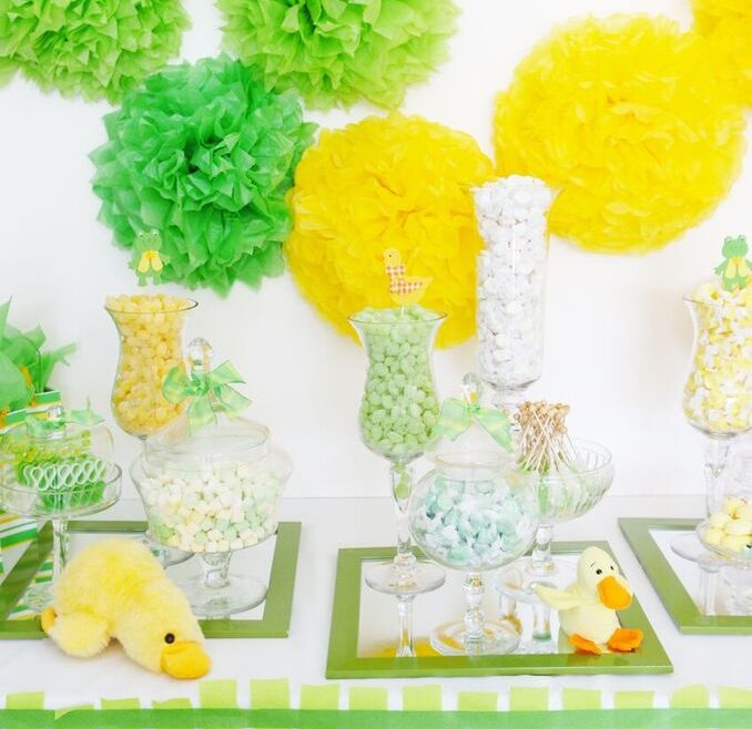 baby shower dessert station, green, yellow, candy favors