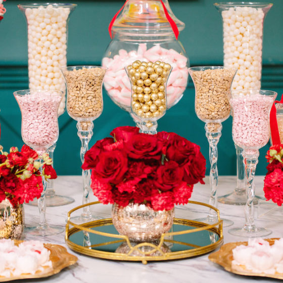 dessert bar gallery, candy station, candy bar, custom desserts, candy display, red, white, gold, pink